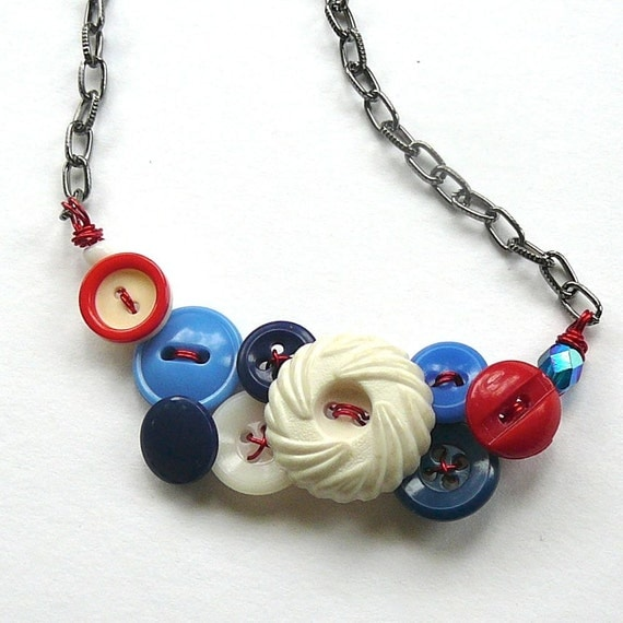 Red White and Blue Vintage Button Necklace