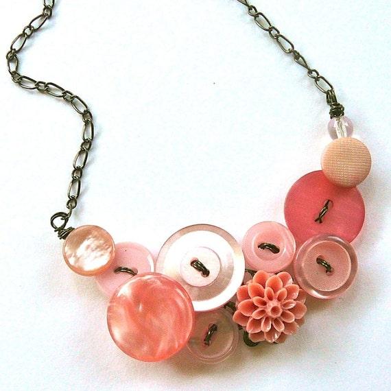 Lovely Pink Blush Vintage Button Necklace