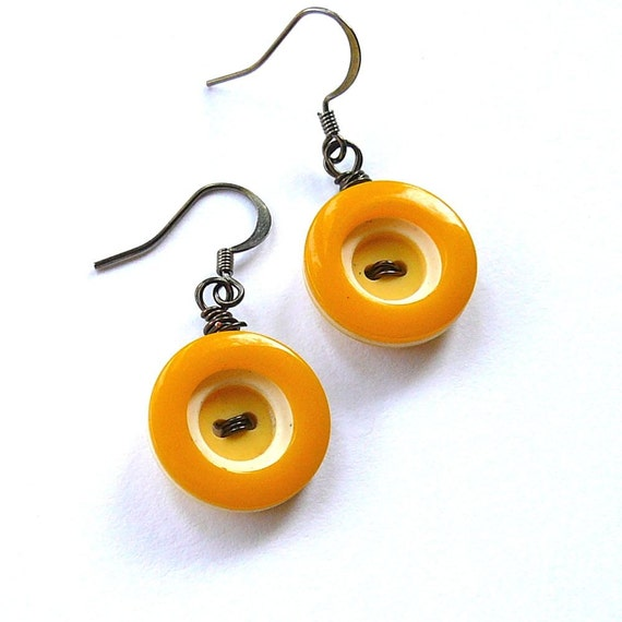 Retro Mustard Yellow Circles Vintage Button Dangle Earrings
