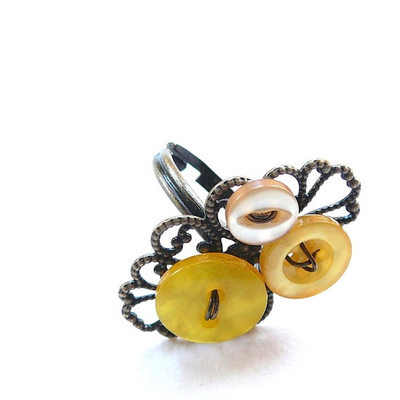 Ring with Yellow Vintage Buttons - Shabby Chic