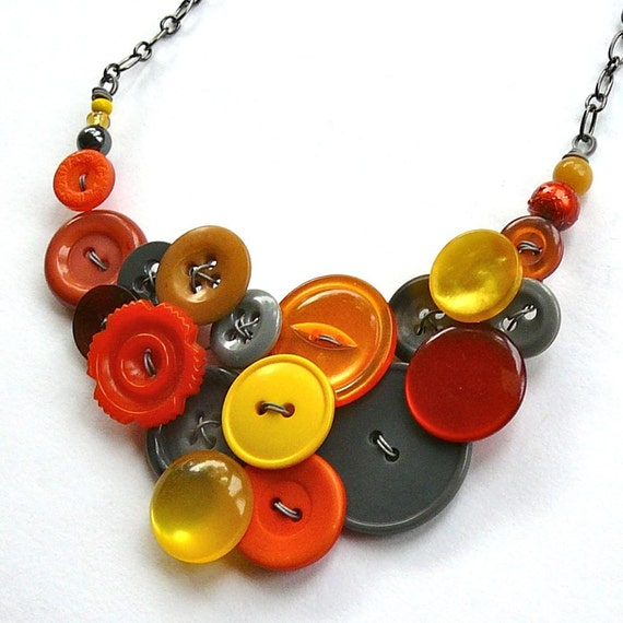Autumn Orange, Mustard Yellow, and Gray Big Bold Chunky Vintage Button Statement Necklace