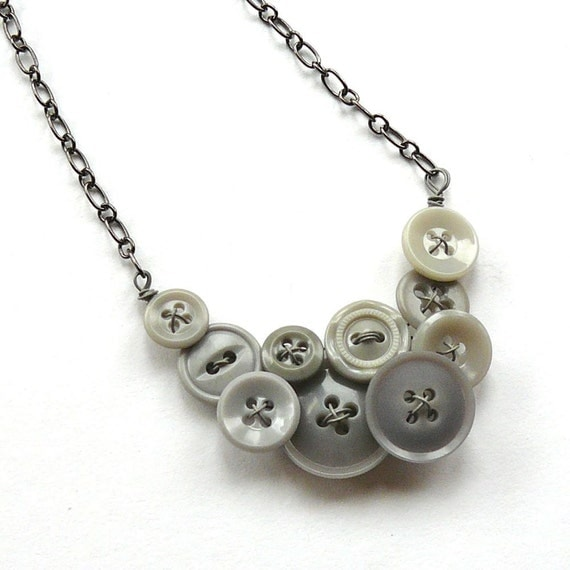 Lovely Pale Gray Shabby Chic Vintage Button Necklace