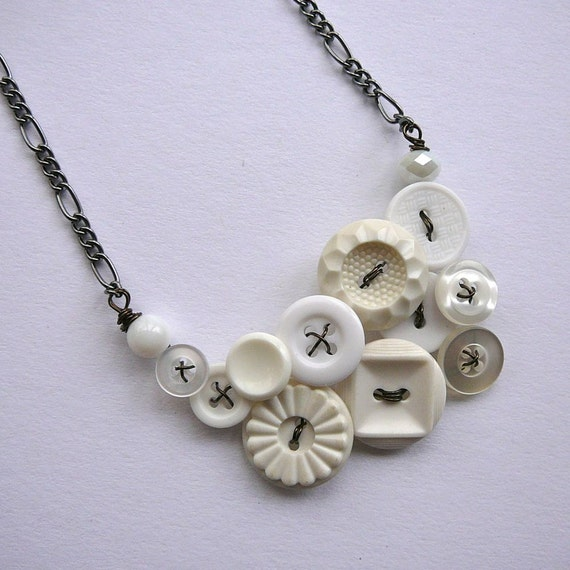 Bright Winter White Vintage Button Jewelry Necklace with Gunmetal Chain - Ready to Ship