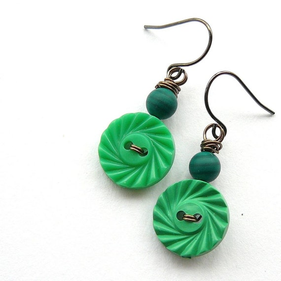 Bright Kelly Green Swirl Button Earrings - Fun Jewelry