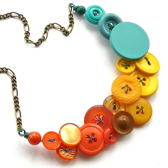 Jazzy Yellow, Orange, Aqua Big Bright Colorful Statement Bib Necklace with Vintage Buttons