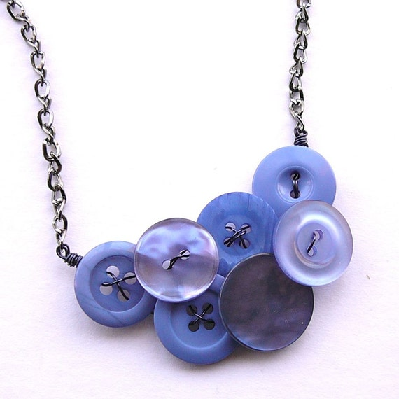 Hyacinth Periwinkle Blue Vintage Button Fashion Statement Necklace