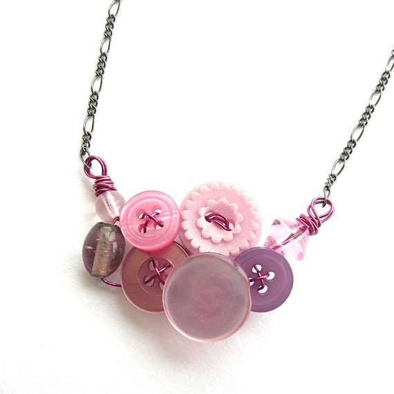 Pretty Little Pink and Purple Button and Bead Necklace