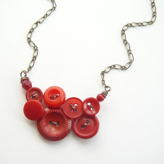 Small Scarlet Red Necklace Vintage Button Jewelry