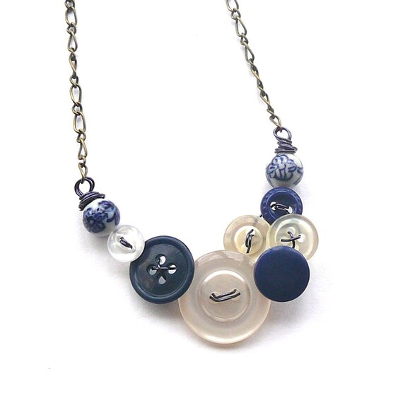 Navy Blue and White Small Vintage Button Necklace - Country Shabby Chic