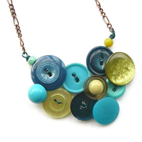 Statement Jewelry Chartreuse Green and Teal Blue Vintage Button Necklace