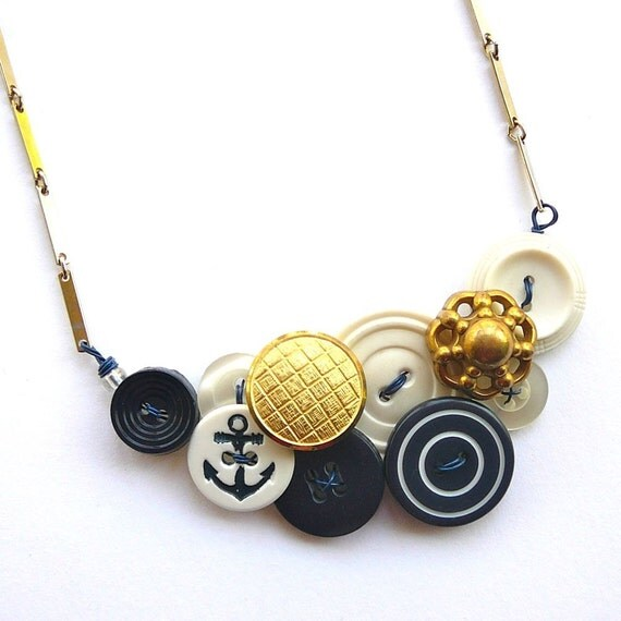 Nautical Navy Blue, White, and Brass Vintage Button Necklace with Anchor