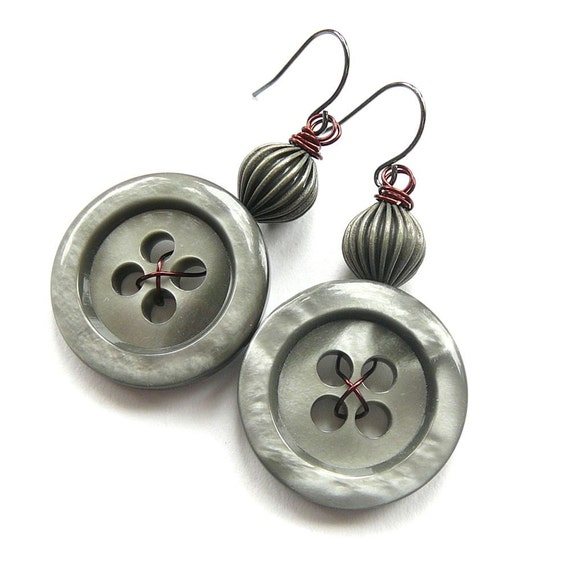 Big Silver Grey Button Earrings - Chunky Gray Jewelry