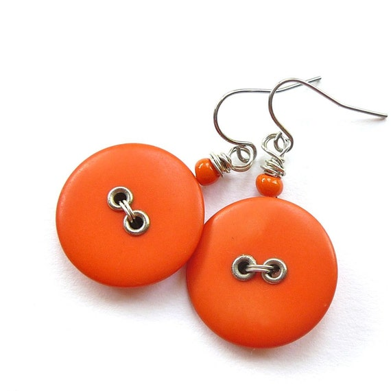 Tangerine Tango Bright Orange Vintage Button Earrings