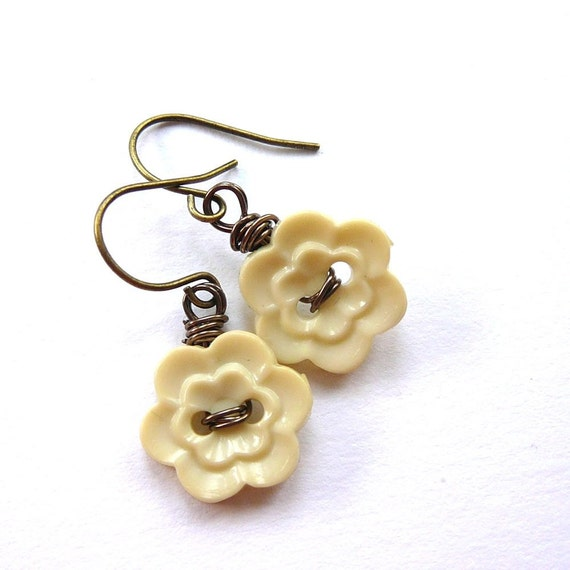 Golden Pale Yellow Flower Earrings - Repurposed Vintage Buttons