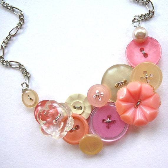 Button Necklace in Pretty Coral, Pink and White Upcycled Vintage Button Jewelry