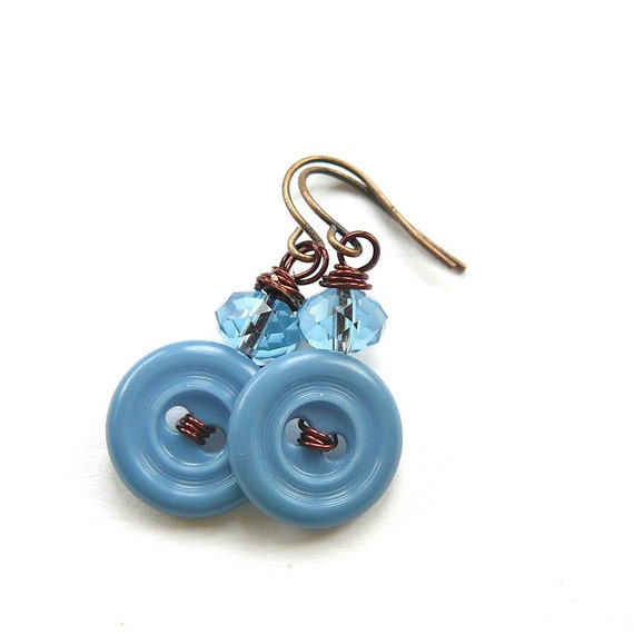 Baby Blue Vintage Button Earrings on Brown Wire - Funky Jewelry