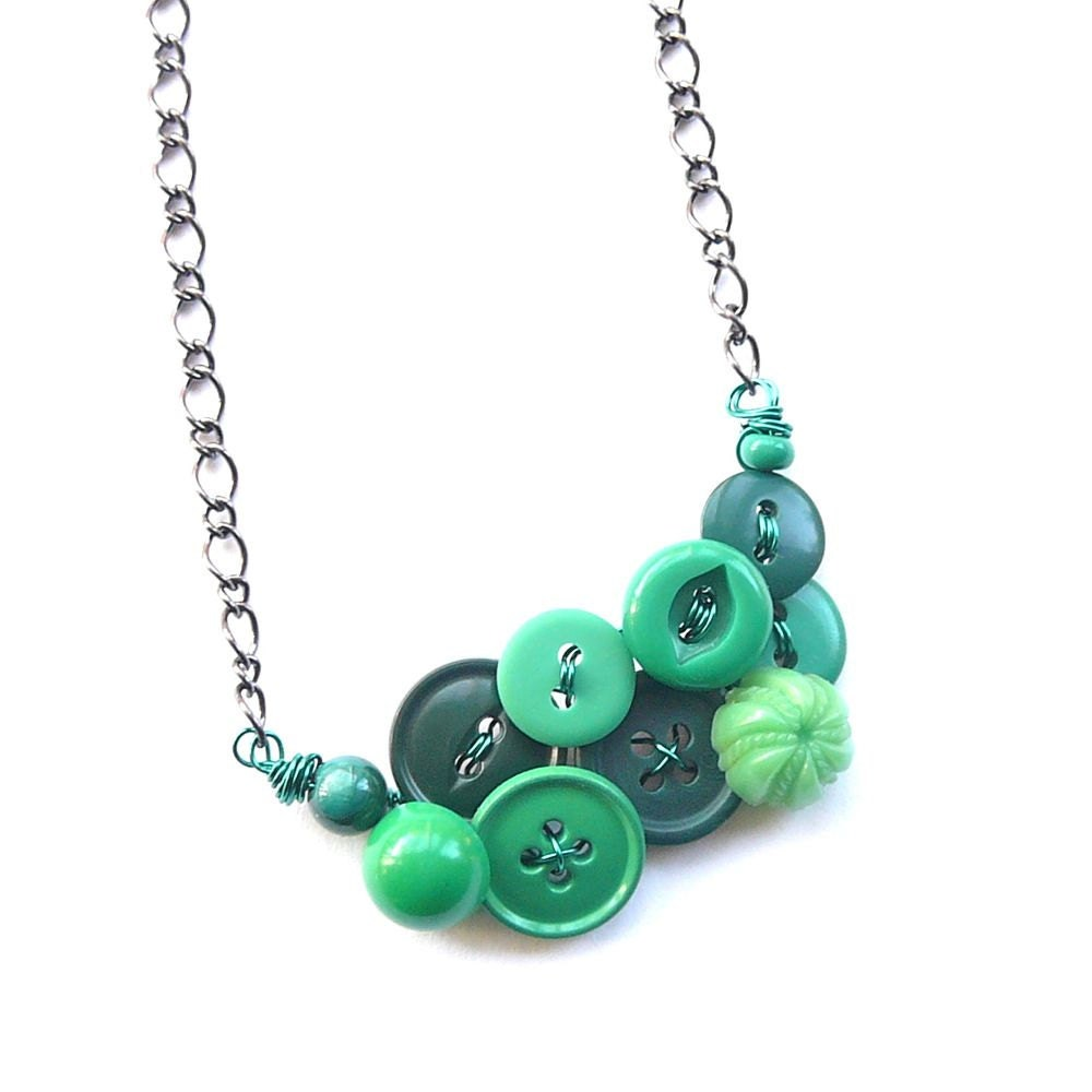 button necklace vintage button jewelry by buttonsoupjewelry
