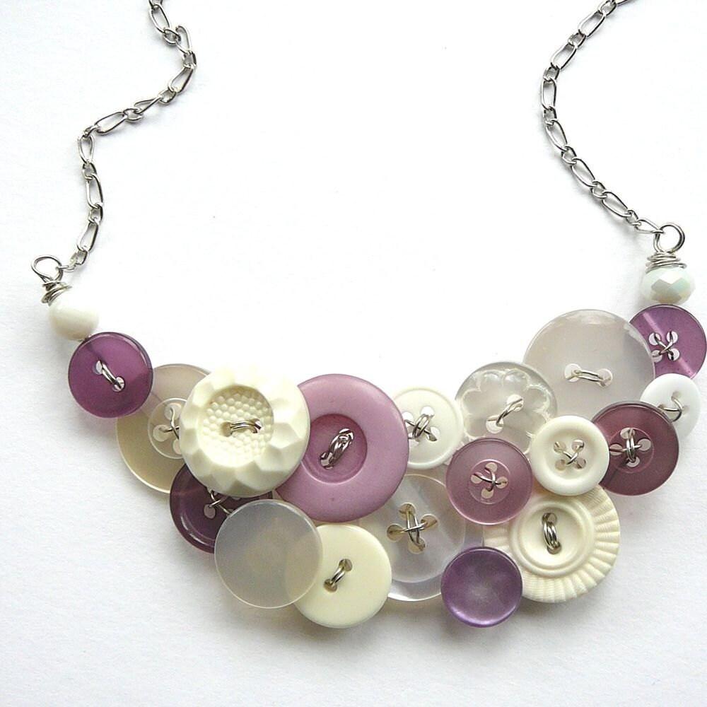 White Lavender Vintage Button Bib Big Statement Necklace with