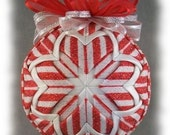 Peppermint Sparkle Holiday Quilted Ornament Quilt Ball Ornaments