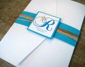 Seaside maritime Starfish Pocket Wedding Invitation Set
