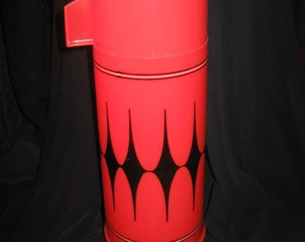 Vintage Alladin Red and Black Argyle Thermos Bottle