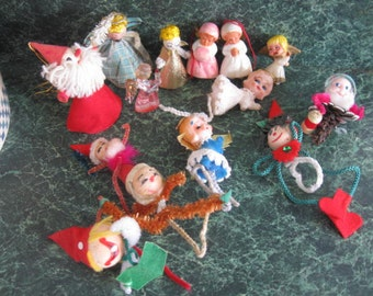 Vintage 14 Christmas Ornament figures