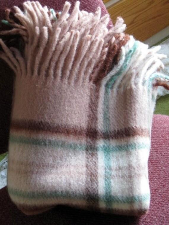 Vintage Cozy Warm Plaid Wool Throw Blanket