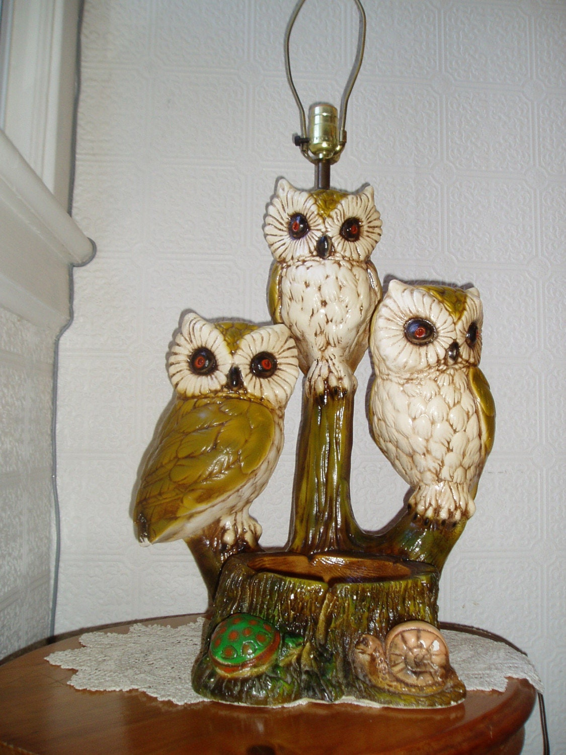 Owl Lamp Vintage Chalkware By Jonscreations On Etsy