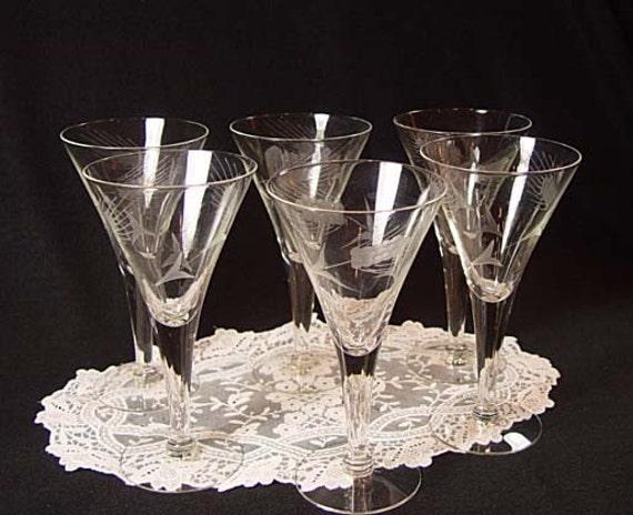Items Similar To Vintage 6 Wine Water Long Stem Glasses