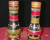 Salt & Pepper Shakers Souvenir of Mexico Carved Wood Vintage 1960-70s Colorful Mexican Collectible