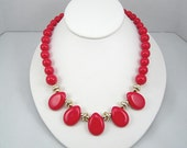 """Vintage Red Necklace Hard Plastic Teardrops Beads Circa 1980s Costume Jewelry 18"""" Length"""