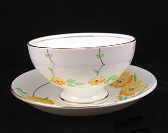Adderly Tea Cup & Saucer, England Best Bone China, Yellow Flowers, Green Leaves, Kitchen Tea Set Collectible