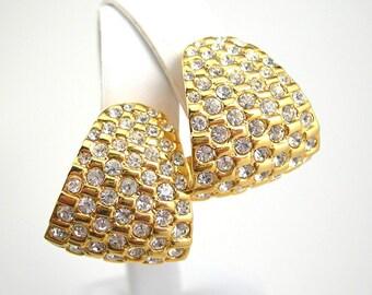Stunning Gold Rhinestone Clip-on Earrings, Vintage 1980-90, Gold Plate Metal, Elegant Costume Jewelry, Wedding Nightclub Dancing