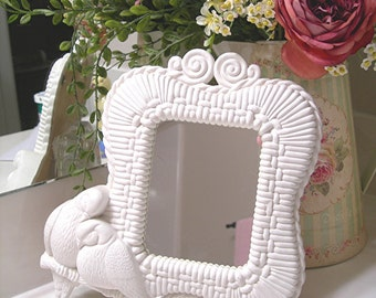 Vintage Wall Mirror - White Lovebirds - Plastic Wicker by Syroco - Vintage 1970s Shabby Cottage Wall Decor - Wall Hanging Home Decor