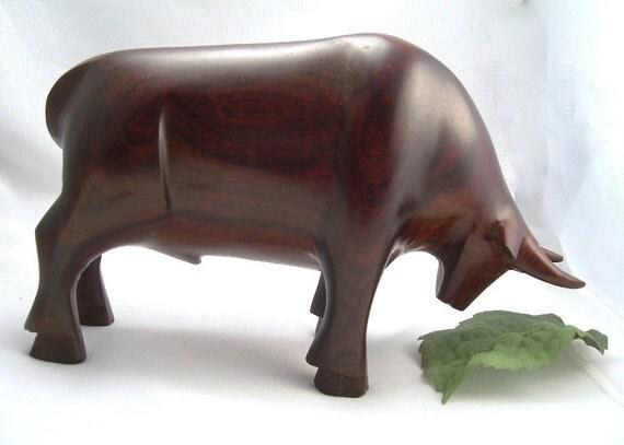 Carved Ironwood Bull Taurus Figure