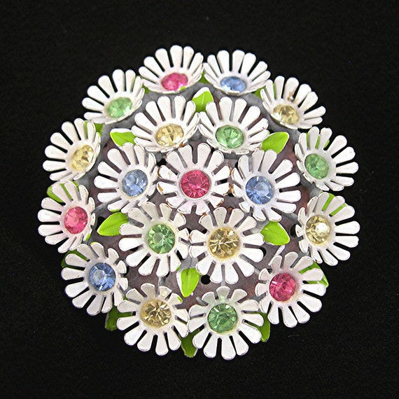 Vintage Rhinestone Brooch White Clustered Flowers Colored Stones