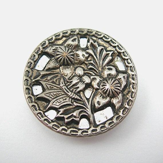 Victorian Button Mirrored Vintage Silvertone Floral Design