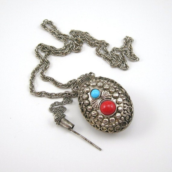 """Pendant Necklace 24"""" Chain Potions Flacon or Vial Vintage 1970s Costume Jewelry Bohemian India Perfume"""