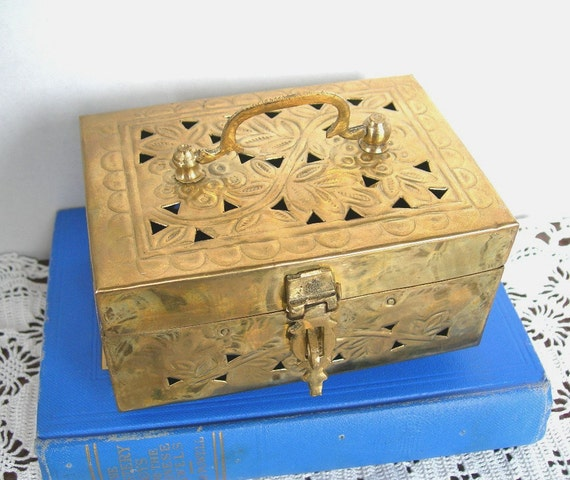 Solid Brass Cricket Box Lidded Made in India Vintage 1970-80s Hold Trinkets Jewelry by Gatco SALE was 18.00