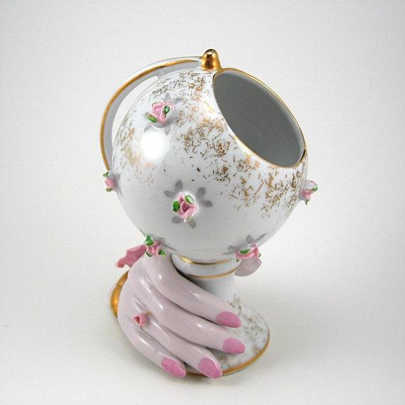 Vintage Hand Vase Globe White Porcelain Gold Accents Shabby Pink Flowers Circa 1950s Home Decor
