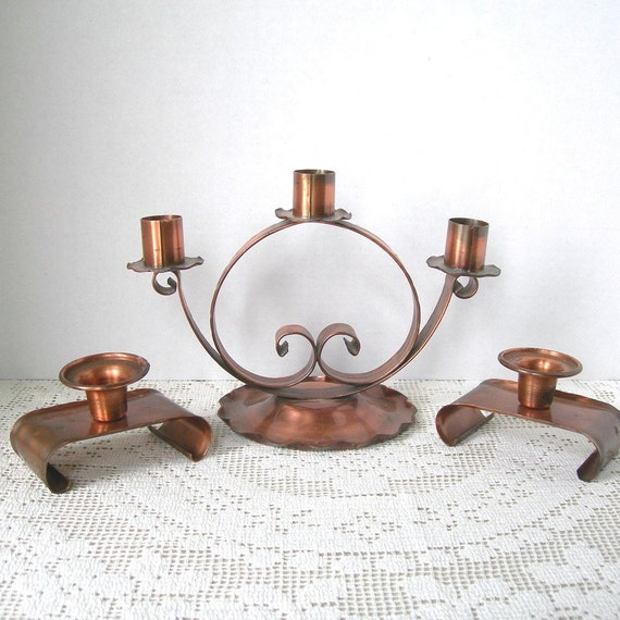 Vintage Copper Candle Holders 3 Pieces Circa 1960s Home Decor, Small Pair Marked Drumgold