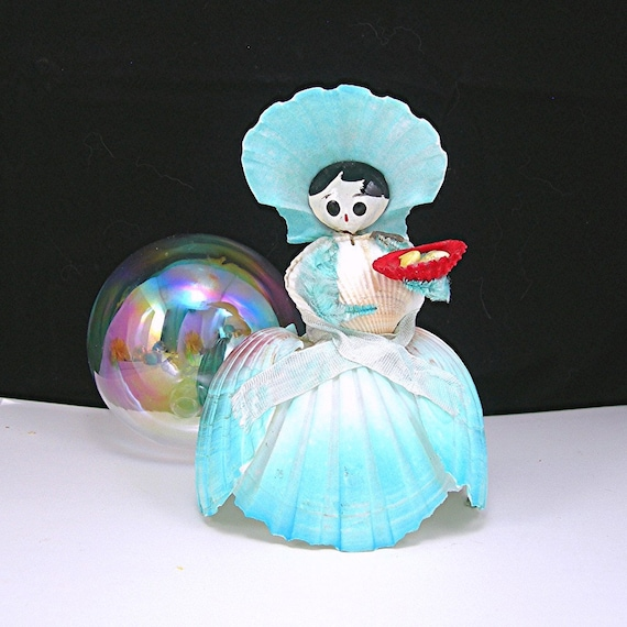 Vintage Seashell Doll Vanity Figure Doll Made in Japan 1950 Souvenir Doll Blue Ballgown Dress Hat Shell Girl Shell Lady