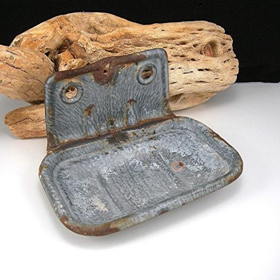 Primitive Old Galvanized Enamelware Metal Soap Holder Rustic Vintage 1940s