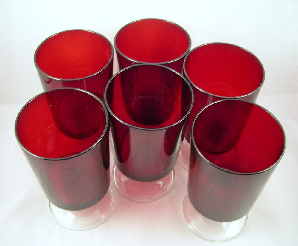 Red Drinking Glasses Goblets Clear Footed Luminarc Set of : ilfullxfull282329587 from www.etsy.com size 1000 x 825 jpeg 109kB