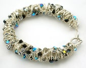 Sterling Silver Wire Coiled/Wrapped Tornado Bracelet with Swarovski Crystals and Bali Beads