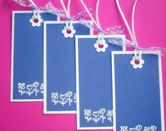 Purple Flower Tags - set of 4 big sized gift tags - embossed