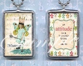 an ATTITUDE is a TERRIBLE THING to WASTe pendant NECKLACe altered art  glass charm double sided