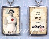 NURSE soldered GLASS pendant ALTEReD ART charm NECKLACe double sided