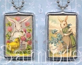 VINTAGE  EASTER POSTCARDs BUNNY soldered GLaSS pendant NeCKLACE altered art CHIcKS EGgS CoLLAGE charm DoUBLE SIDeD