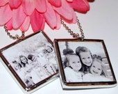 PERSONALIZED CUSToM PHoTO charm NECKLACE glass pendant  double sided KEEPSAKE for pet family or friend bridesmaid MOTHERs DaY